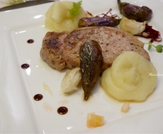 慢煮Agu豚伴醋渍茄子·薯蓉·苹果沙律 Slow-Cook Agu Pork Loin withMarinatedEggplants. Mashed Potatoes. Apple Salad