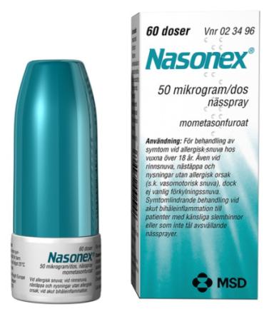 Nasonex nässpray, 50 mg/dos, 60 doser