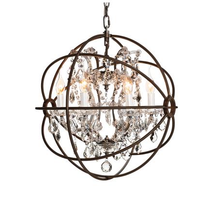 Gyro taklampa liten antik rost kristall