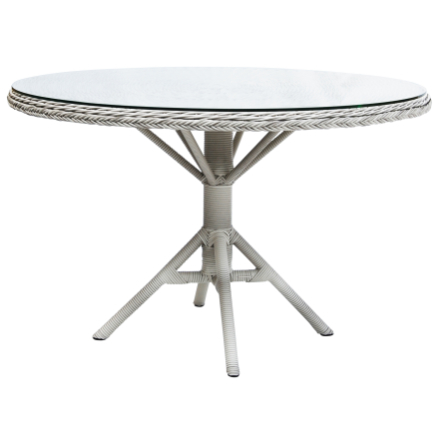 Grace matbord vit Ø120 cm inkl. glas