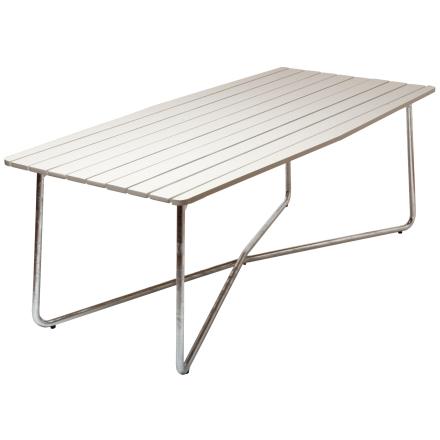 B30 bord vitlackad ek med varmförzinkat stativ 190×92 cm