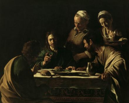 Supper at Emmaus - Michelangelo Caravaggio Fototapeter & Tapeter 100 x 100 cm