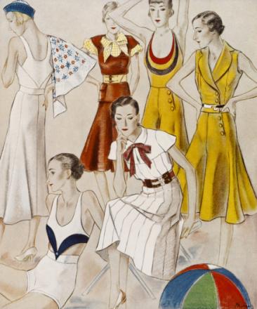 Beach Fashions for 1932, National Magazines Fototapeter & Tapeter 100 x 100 cm