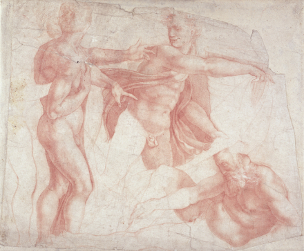 Studies of Male Nudes - Michelangelo Buonarroti Fototapeter & Tapeter 100 x 100 cm