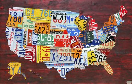 USA Map License Plates Fototapeter & Tapeter 100 x 100 cm