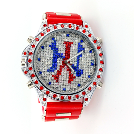 Klocka NY Red n Blue New York MicroPave Rubber Band Mens Watch
