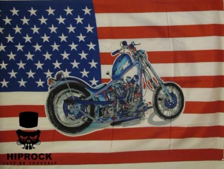 Flagga - USA Flaggan med Motorcykel