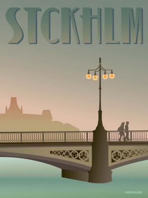 Affisch - Stckhlm, Vasa bridge (70x100 cm)