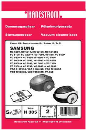 Dammsugarpåsar till Samsung dammsugare som SC 5120, SC 7200 - SC 7299, VC 5800 - VC 5899 m fl