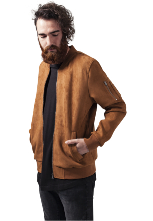 Jacka Effervescent Urban Classics Imitation Suede Men Bomber Jacket Orange