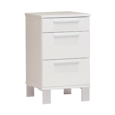 Alba sängbord 3 lådor vit