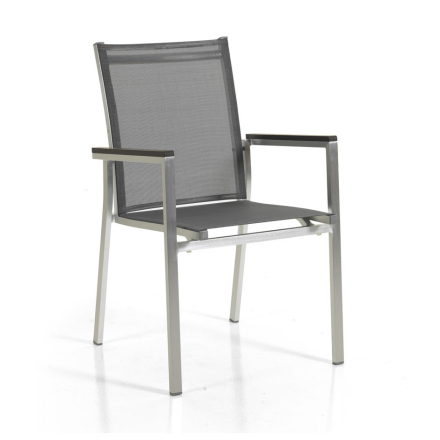Avanti stapelstol borstad aluminium/grå