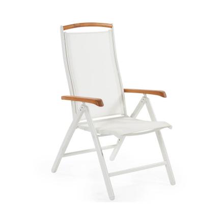Andy positionsstol vit/vit med armstöd i teak