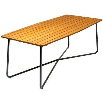 B30 bord oljad ek med mörkgrönt stativ 190×92 cm
