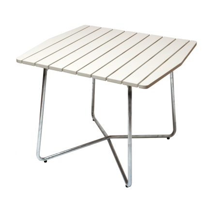 B30 bord vitlackad ek med varmförzinkat stativ 84×92 cm