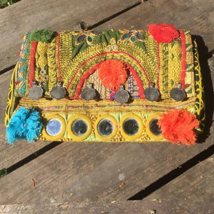 Bohem Väska Clutch - Antika tyger, handgjord, guld
