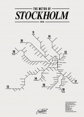 Poster - Metro of Stockholm 1950 50x70 cm