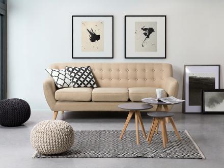 Soffa beige - tygsoffa - 3-sits soffa - MOTALA