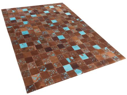 Matta - brun-blå - patchwork - skinnmatta - kort lugg - 140x200 cm - ALIAGA