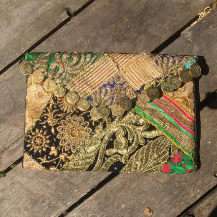 Bohem Väska Clutch - Unik handgjord Guld