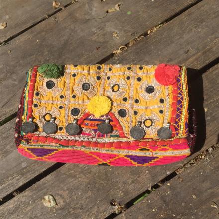 Bohem Väska Clutch - Antika tyger, handgjord, gul