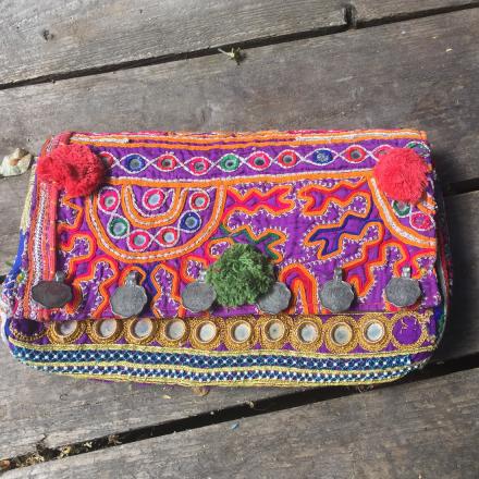 Bohem Väska Clutch - Antika tyger, handgjord, lila