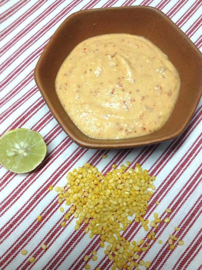 Easy No-cook Moong dal (green gram) chutney