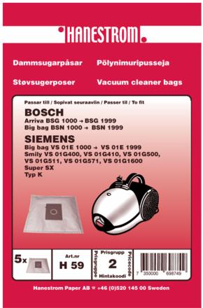 Dammsugarpåsar till Bosch Arriva BSG 1000 till 1999 och Big Bag BSN 1000 till 9999