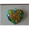 Vackert Glashänge Hjärta - Grönt, blått & guldigt