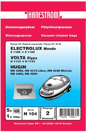 Dammsugarpåsar till Volta Elyps U 1110 - U 1131