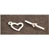 Hjärt toggle lås, smyckestillbehör, antikt silverpläterad