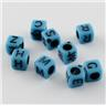 50 stycken bokstavspärlor Bokstäver Blå kub 6mm Alfabet alfabetspärlor
