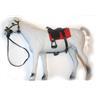 Flockad vit springare häst med sadel 28cm NYVARA