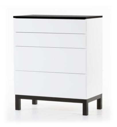 Österlen byrå med 4 lådor - vit / svar