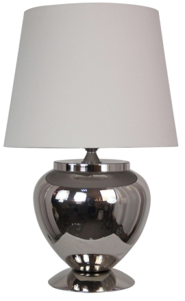 Korint bordslampa - Nickel /​ Beige