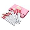 Professionellt rosa set med makeupborstar i 18 delar