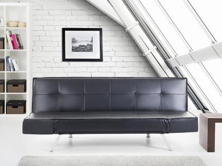 Bäddsoffa svart - soffa - bäddsoffa - soffa i konstskinn - soffa i konstläder - BRISTOL