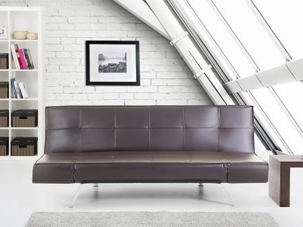 Bäddsoffa brun - soffa - bäddsoffa - soffa i konstskinn - soffa i konstläder - BRISTOL