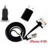 *OrangeStore * iPhone 4/4S iPad iPod Laddare+1M USB Kabel+Bil-Laddare Svart
