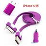 *OrangeStore * iPhone 4/4S iPad iPod Laddare+1M USB Kabel+Bil-Laddare Lila