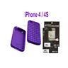 1 st Silikon Case för Apple iPhone 4 / 4S - LILA + 2 st Skärmskydd