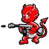 Bad baby boy med kulspruta/gevär dekal/sticker