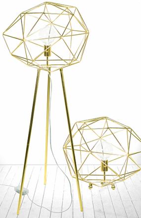 Globen Lighting Diamond Golvlampa Mässing