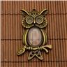 Uggle hänge med glascabochon 18x25mm, antik brons