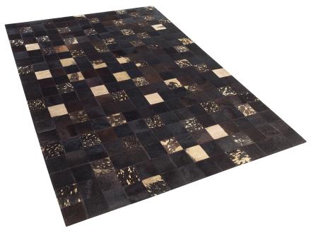 Matta - brun - patchwork - skinnmatta - kort lugg - 160x230 cm - BANDIRMA