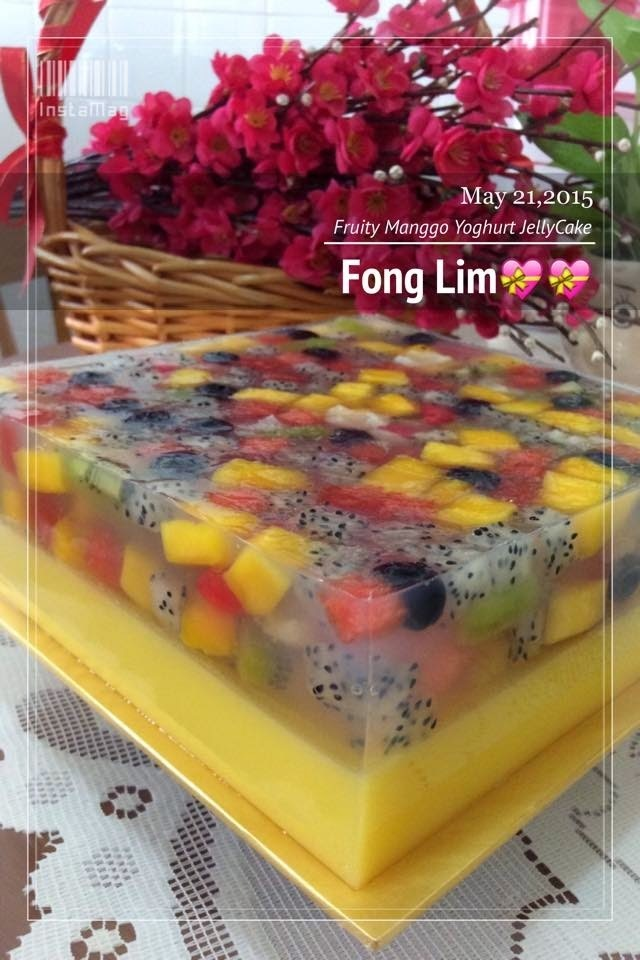 ~~  Fruity Manggo Yoghurt Jelly  Cake  ~~ 水果& 芒果乳酸燕菜蛋糕  ~~