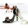 NY!Crystal High-heel skor chain Pearl Strand Pendant Svart(Wo1)