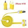 *OrangeStore * iPhone 4/4S iPad iPod Laddare+1M USB Kabel+Bil-Laddare Gul