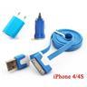 *OrangeStore * iPhone 4/4S iPad iPod Laddare+1M USB Kabel+Bil-Laddare Blå