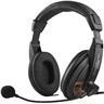 DELTACO, Headset med mikrofon och volymkontroll 2,5m kabel, svart